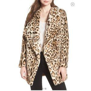 BB Dakota Faux Fur Leopard Animal Print Coat